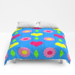 Daisy and heart print, turquoise, pink and yellow Comforters