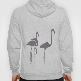 Three Flamingos Grey Silhouette Isolated Hoody