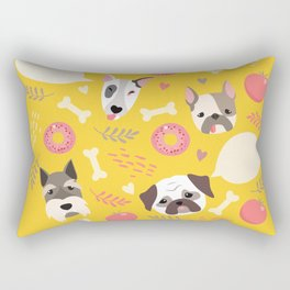 Cute dog illustration color card with cloud place for your text Rectangular Pillow