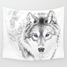 WOLF WHITE Wall Tapestry