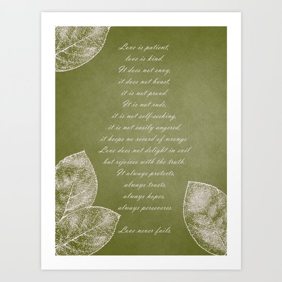Love is Patient Leaves Art Print