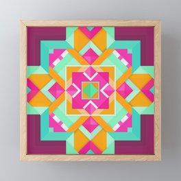 Geometric Tribal Mandala Inspired Modern Trendy Vibrant (Mint Green, Maroon, Wine, Hot Pink, Orange) Framed Mini Art Print
