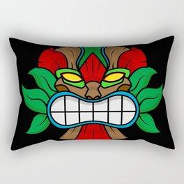 Tiki Mask - Black Background Rectangular Pillow
