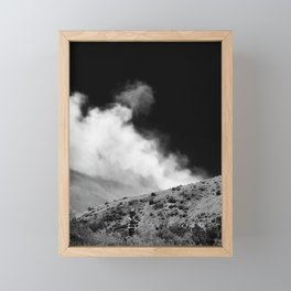 Boy Walking in front of Northern Nevada Forest Fire Framed Mini Art Print