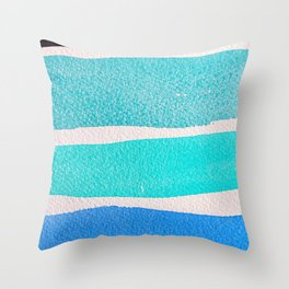 Bright Blue Sea Ribbons Throw Pillow