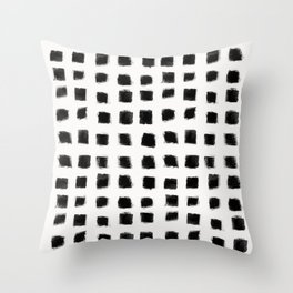 Polka Strokes - Black on Off White Throw Pillow
