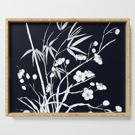 bamboo and plum flower white on black Serving Tray