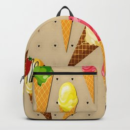 Ice cream hearts-Beige Backpack