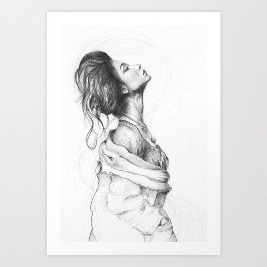 Pretty Lady Illustration Woman Portrait Beauty Art Print