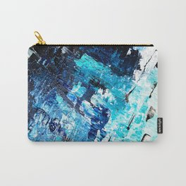 Under the sea | modern abstract hand painted blue turquoise acrylic painting Carry-All Pouch