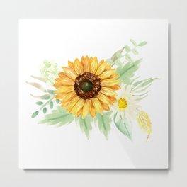 Watercolor Sunflower Bouquets | Pattern | Art Metal Print