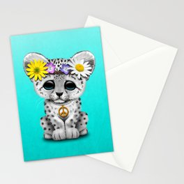 Cute Baby Snow Leopard Cub Hippie Stationery Cards