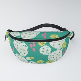 Yellow Flowering Cactus on Emerald Fanny Pack