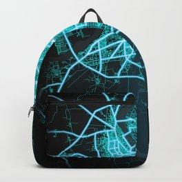 Surat Gujarat, India, Blue, White, Neon, Glow, City, Map Backpack