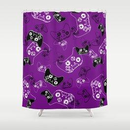 Video Game Purple Shower Curtain