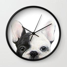 French Bulldog Dog illustration original painting print Wall Clock