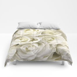 Ivory White Roses Comforters