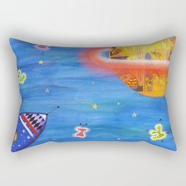 Space Rocket Planet Aliens and Shooting Stars Rectangular Pillow