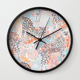 Colorful Wild Cats Wall Clock