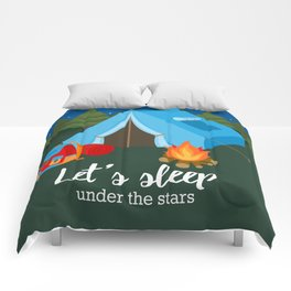 Camping blue tent Comforters