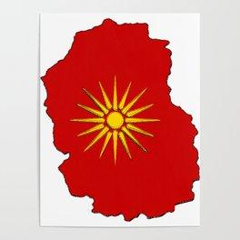 Macedonia Map with Macedonian Flag Poster