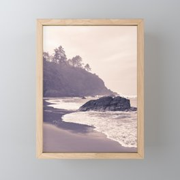 Hazy Washington Coastal Landscape Seascape Mist Beach Ocean Surf Northwest PNW Wanderlust Scenic Art Framed Mini Art Print