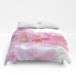 Pink Japanese Cherry Tree Blossom Comforters
