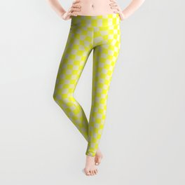 Canary Yellow and Cream Checkerboard Squares Leggings