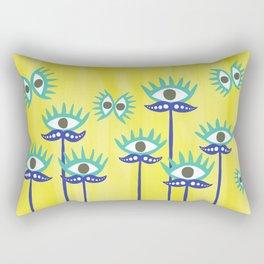 Evil Eye Nazar protective Garden Yellow Rectangular Pillow
