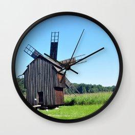sibiu romania ethno museum wood wind mill Wall Clock