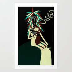Serius Chief conforts little witch. Art Print
