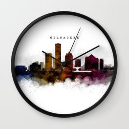 Milwaukee Watercolor Skyline Wall Clock