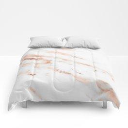 Rose Quartz Foil on Real White Marble Comforters