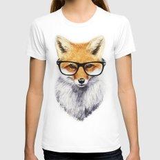Mr. Fox White MEDIUM Womens Fitted Tee