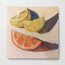 Lemons with Orange Metal Print