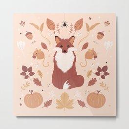 Autumn Woodland Fox Metal Print