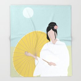 Wagasa and kimono Throw Blanket