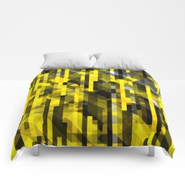 abstract composition in yellow and grays Comforters