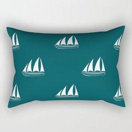 White Sailboat Pattern on teal blue background Rectangular Pillow