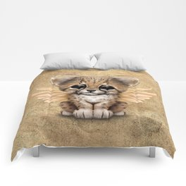 Cute Baby Cheetah Cub with Fairy Wings Comforters