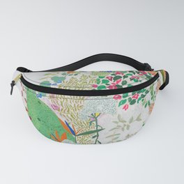 Painterly Floral Jungle on Pink and White Fanny Pack