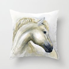 White Horse Watercolor Painting Animal Horses Throw Pillow