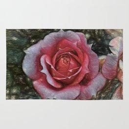 Peach rose art Rug