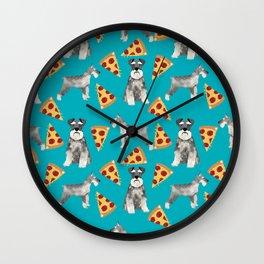 schnauzer pizza dog breed pet pattern dog mom Wall Clock