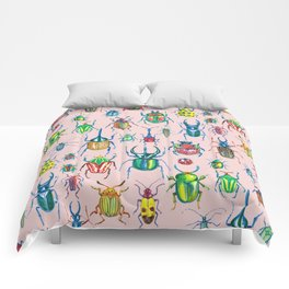 Colours of beetles pink Comforters