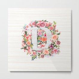 Initial Letter D Watercolor Flower Metal Print