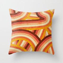 Vintage Orange 70's Style Rainbow Stripes Throw Pillow