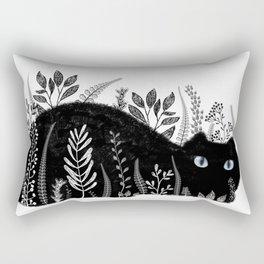 Garden Cat Black And White Rectangular Pillow