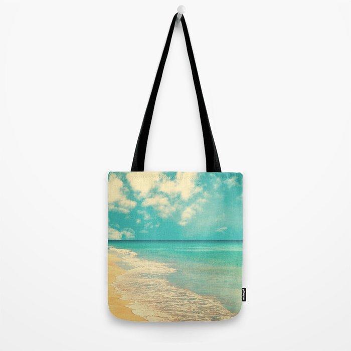 Waves of the sea (retro beach and blue sky) Tote Bag