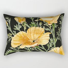 California Poppies on Charcoal Black Rectangular Pillow